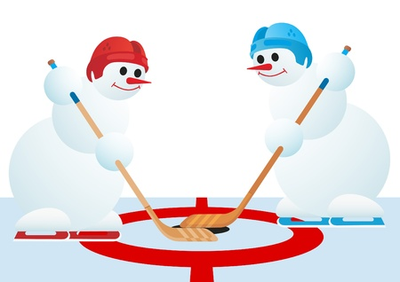 Two snowmen playing hockey  The illustration on a white background  Vector
