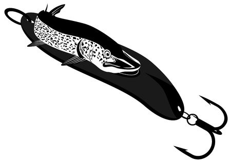 trolling: Pike is trolling  Black and white illustration