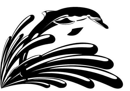 Dolphin against splashing water. Black and white illustration. Vector