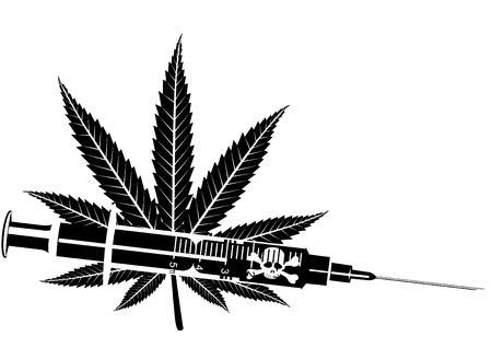 narcotic: Medical syringe with narcotic substance. Black and white illustration.