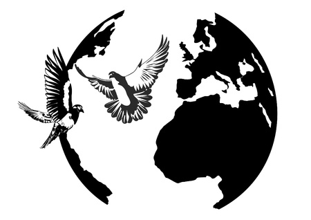 White doves flying against the Earth. Black and white illustration.
