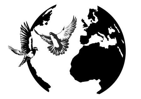 black beak: White doves flying against the Earth. Black and white illustration.