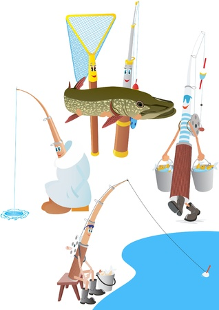 ice fishing: Abstract pole and net. The illustration on a white background.