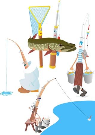 ice fishing: Resumen polos y la red. La ilustraci�n de un fondo blanco. Vectores