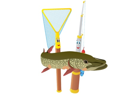 Abstract fishing rod and net holding a pike. The illustration on a white background. Vector