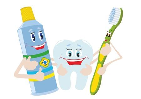 Astratto dentifricio, spazzolino da denti e dente. L'illustrazione su uno sfondo bianco.