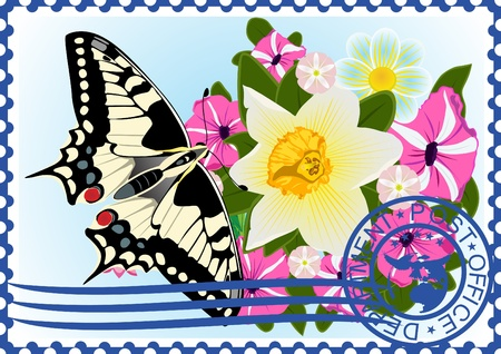The illustration on a postage stamp  Butterfly and wildflowers  Vector