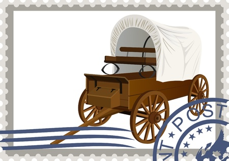 The illustration on a postage stamp  An old covered wagon Vector