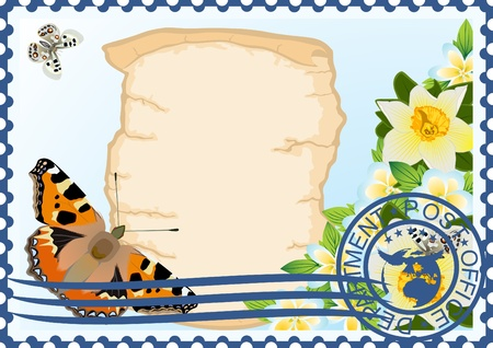 The illustration on a postage stamp  Butterfly and flowers on a background of ancient parchment Stock Vector - 13164326
