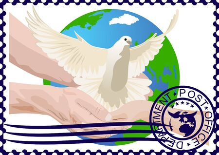 The illustration on a postage stamp. A white dove in the hands of a man in the background of the Earth. Stock Vector - 13211447