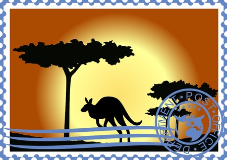 The illustration on a postage stamp. Flora and fauna of Australia. Vector