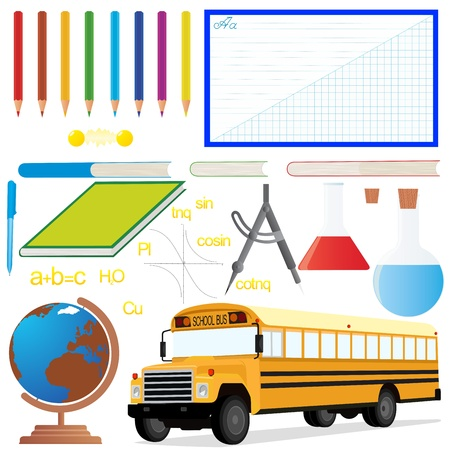 School bus and a set of school items and accessories. The illustration on the theme of the school on a white background. Vector