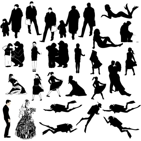 Contours of people on a white background Illustration