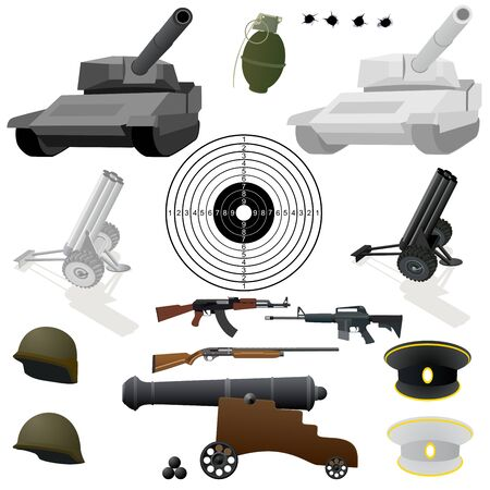 Military equipment, small arms and military uniforms. Illustration about the war on the white background. Vector