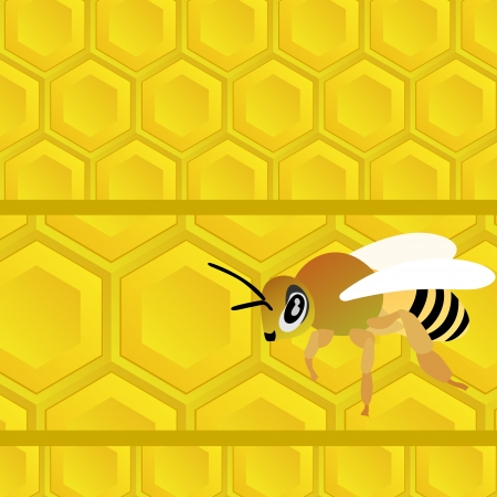 Honeycomb with honey and bee. Bee on a yellow abstract background. Vector
