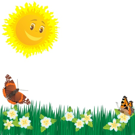 The sun, butterflies and wildflowers. The illustration on a white background. Stock Vector - 13842979