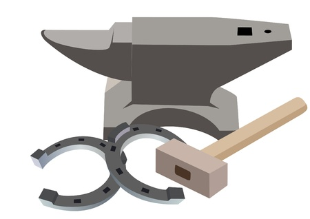 Anvil, hammer and a horseshoe. The illustration on a white background. Stock Vector - 13916523