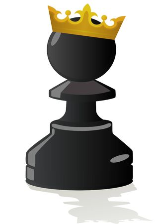 Golden crown on his head a black pawn. The illustration on a white background.