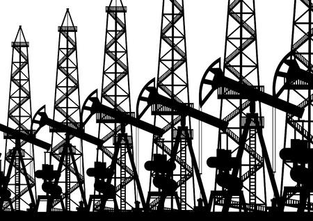 industria petrolera: La industria petrolera. Ilustraci�n en blanco y negro.