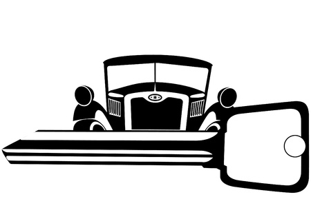 ignition: The old car and the ignition key. Black and white illustration.
