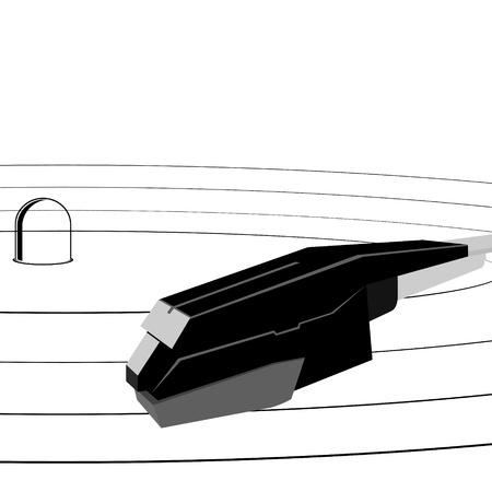 pickups: Un'immagine astratta della musica della piastra e pickup. L'illustrazione su uno sfondo bianco.