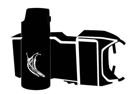 A can of tear gas and electric shock devices. Black and white illustration. Vector