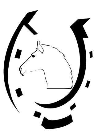 gusseisen: Der Kopf eines Pferdes und Hufeisen. Die Abbildung auf einem wei�en Hintergrund.