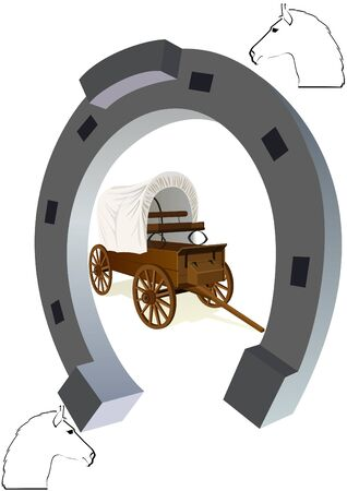 wagon wheel: An old covered wagon inside the horseshoe. The illustration on a white background.