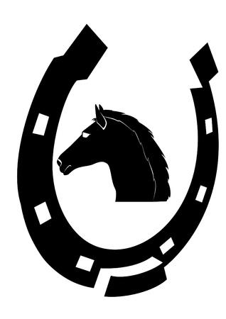 Het hoofd van een paard en hoefijzer. De illustratie op een witte achtergrond.