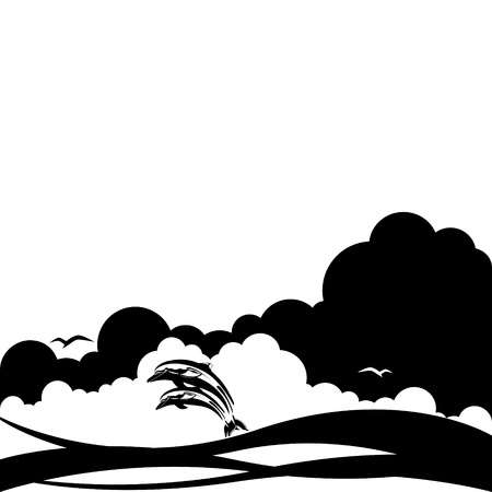 occupant: Two dolphins in the ocean against the backdrop of clouds Black and white illustration