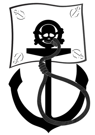 drapeau pirate: Navires d'ancrage et drapeau de pirate noir et blanc illustration