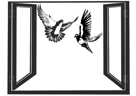 picture window: White doves flying against the backdrop of an open window. Black and white illustration.