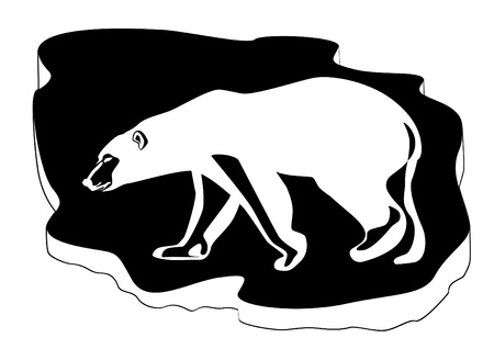 floe: Polar bear on ice floe background. Black and white illustration.