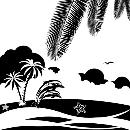 occupant: Two dolphins in the ocean on a background of clouds and shoreline.Black and white illustration.