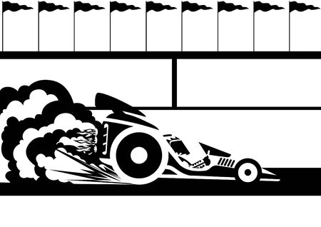 A racing car at the stadium. Black and white illustration. Vector