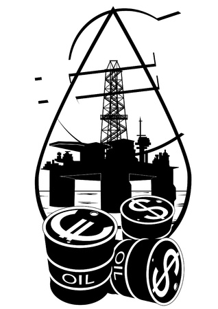 Oil and gas industry. Black and white illustration Vector
