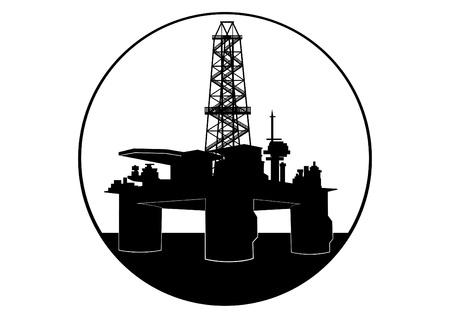 Industria petrolifera. Illustrazione in bianco e nero Archivio Fotografico - 14347693