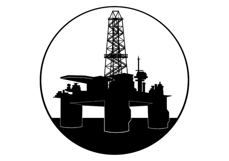 Oil industry. Black and white illustration Illustration