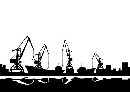 harbour: Lavoro gru. Illustrazione in bianco e nero.