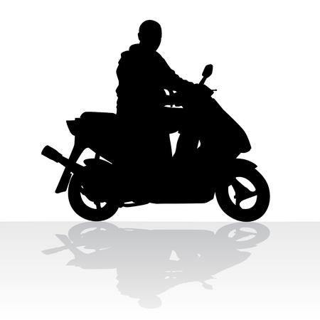 managing: The person managing scooter.Black and white illustration.