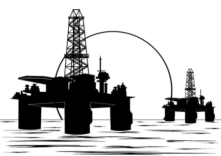 Oil and gas industry. Black and white illustration. Vector