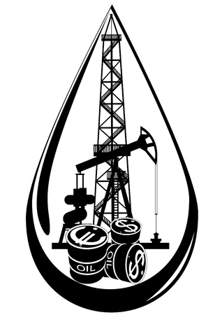 mineral oil: Oil and gas industry. Black and white illustration.