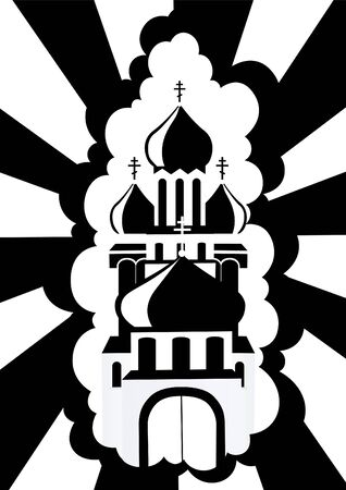 orthodoxy: The contour of the Orthodox Church. Black and white illustration.