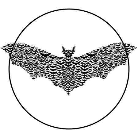 Bats make up the shape of a big bat.Black and white illustration. Stock Vector - 14470341