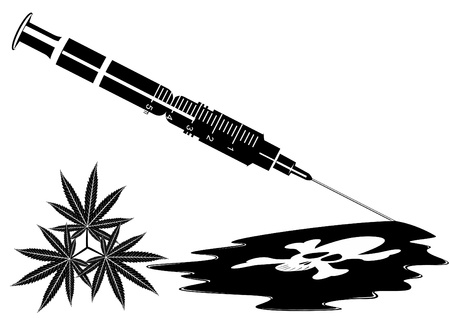 Medical syringe with narcotic substance. Black and white illustration. Vector