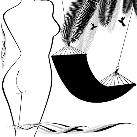 The contour of the female figure and a hammock. Black and white illustration. Stock Vector - 14470334