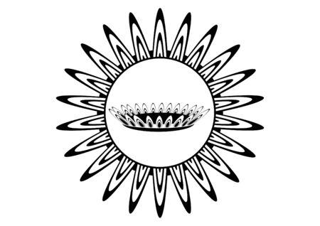 gas burner: Burning gas burner. Black and white illustration. Illustration