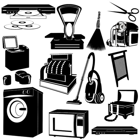The contours of objects and appliances  Black and white illustration  Vector