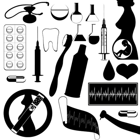 The contour of objects on the topic of medicine  Black and white illustration  Vector
