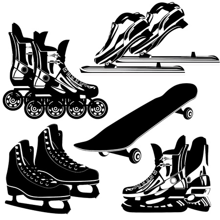 rollers: The contours of items of sports equipment  Black and white illustration